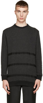 Robert Geller Charcoal and Grey Taped Sweater