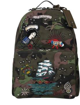 Valentino Embroidered Camouflage Canvas Backpack