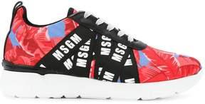 MSGM leaf print branded sneakers