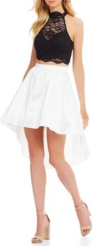 B. Darlin Mock Neck Lace Top Two-Piece High-Low Dress