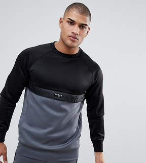 Nicce London tall track sweatshirt in black with gray panel exclusive to asos