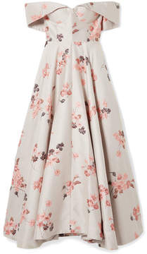 Co Off-the-shoulder Floral-jacquard Midi Dress - Beige