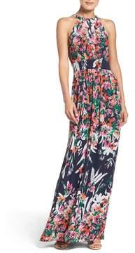 Eliza J Print Chiffon Halter Maxi Dress