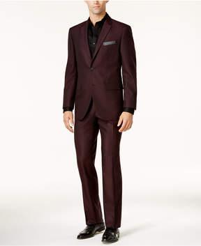 Perry Ellis Men's Slim-Fit Burgundy Tonal Grid Suit