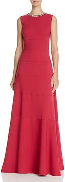 Carmen Marc Valvo Embellished Neck Gown