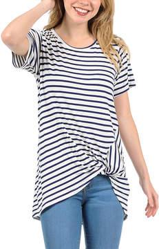 Magic Fit Navy & Ivory Stripe Twist-Front Tee - Women