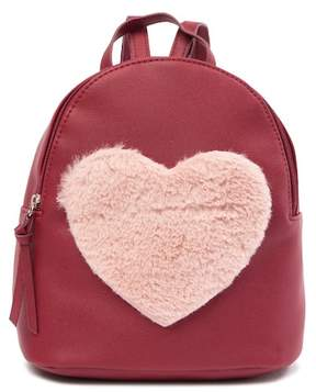 T-Shirt & Jeans Faux Fur Heart Backpack