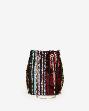 Express Striped Sequin Chain Handle Bucket Bag