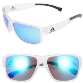 adidas Women's Jaysor 60Mm Sunglasses - Crystal Clear/ Blue Mirror