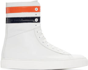 Raf Simons Ecru Leather Stripes High-Top Sneakers
