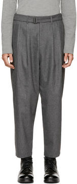 Attachment Grey Pleated Tapered Trousers