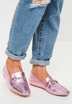 Missguided Pink Metallic Buckle Loafers