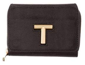 Tory Burch Embossed Leather Wallet - BLACK - STYLE