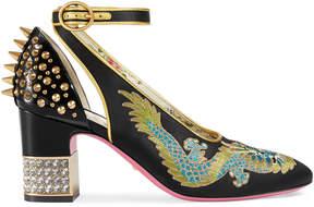Gucci Dragon satin mid-heel pump