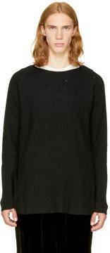 Miharayasuhiro Black Damaged Waffle Knit Pullover