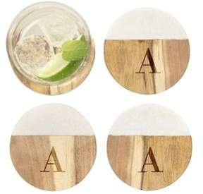 Cathy's Concepts Personalized Marble & Acacia Wood Coaster/Set of 4