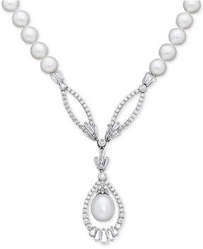 Arabella Cultured Freshwater Pearl (8mm) and Swarovski Zirconia 17 Pendant Necklace in Sterling Silver
