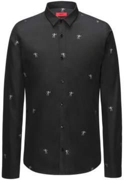 HUGO Boss Skeleton Italian Cotton Dress Shirt, Extra Slim Fit Ero S Black
