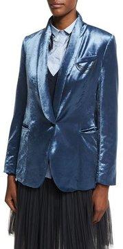 Brunello Cucinelli Velvet Shawl-Collar Blazer with Monili Chains, Blue