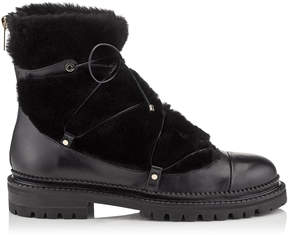 Jimmy Choo DARCIE FLAT Black Leather Boots with Shearling