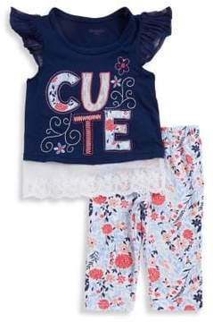 Nannette Little Girl's Two-Piece Patch Top and Pants Set