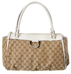 Gucci White Gg Supreme Canvas & Leather Tote. - BEIGE MULTI - STYLE
