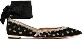 Aquazzura Bliss Embellished Suede Point-toe Flats - Black