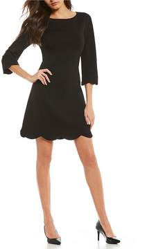Isaac Mizrahi Imnyc IMNYC Bateau Neck 3/4 Sleeve Scallop Hem Shift Dress
