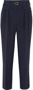 A.P.C. Isa Belted Twill Straight-leg Pants - Navy