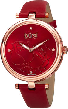 Burgi brgi Womens Etched Rose Dial Red Leather Watch