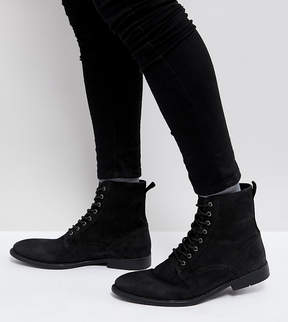 Asos Wide Fit Lace Up Boots In Black Leather With Distressed Sole