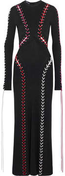 Alexander McQueen Whipstitched Ribbed-knit Maxi Dress - Black