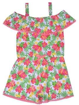Nannette Little Girls' 4-6X Tropical Cold Shoulder Yummy Knit Romper