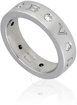 Bvlgari 18K White Gold Diamond-Set Band Ring Size: 53