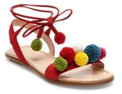Aquazzura Mini Kid's Mini Suede Pom-Pom Ankle-Wrap Sandals