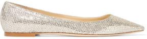 Jimmy Choo Romy Glittered Canvas Point-toe Flats - Gold