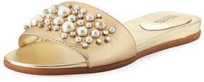MICHAEL Michael Kors Gia Embellished Metallic Flat Slide Sandal