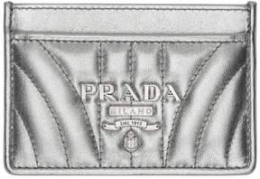 Prada Silver Quilted Logo Card Holder