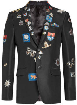 Alexander McQueen Badged Blazer with Cotton and Silk