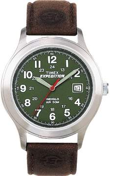 Timex Men's Expedition | Olive Dial Leather Strap Indiglo | Outdoor Watch T40051