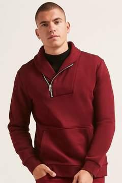 21men 21 MEN Fleece Shawl Collar Pullover