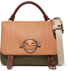 J.W.Anderson Disc Color-block Leather And Suede Shoulder Bag - Tan