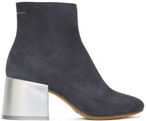 Maison Margiela Grey Suede Flared Heel Ankle Boots