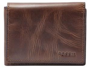 Fossil Men's 'Derrick' Leather Flip Trifold Wallet - Brown