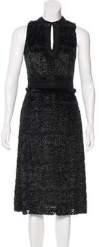 Andrew Gn Mink Fur-Trimmed Silk-Blend Dress
