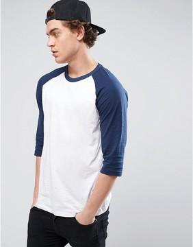 New Look 3/4 Sleeve Raglan T-Shirt In Navy