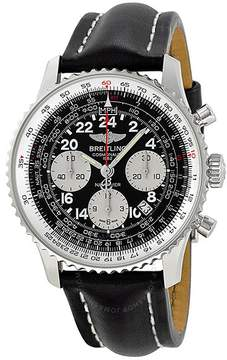 Breitling Navitimer Cosmonaute Black Dial Leather Strap Automatic Men's Watch AB021012-BB59BKLT