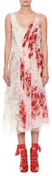 Ermanno Scervino Deep V-Neck Sleeveless Gathered Floral-Print Silk Dress