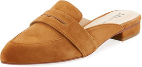 Neiman Marcus Chiko Suede Penny Keeper Mule, Camel