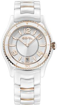 Ebel X-1 Silver Dial Ladies Ceramic and 18k Rose Gold Watch